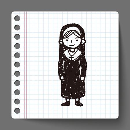 nun: nun doodle