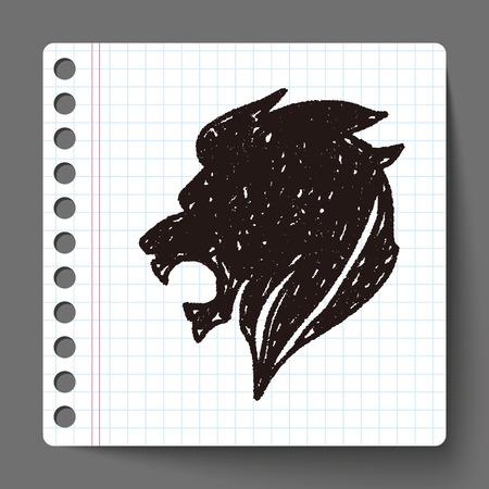 royal lion doodle Vector