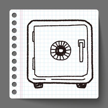 caja fuerte: doodle de caja de seguridad Vectores