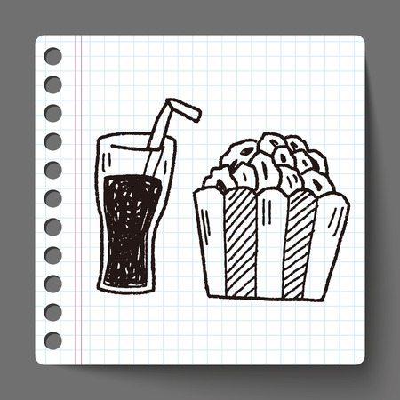 date night: popcorn and drink doodle