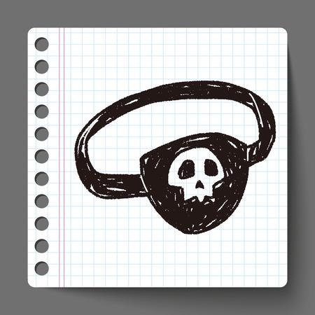 eye mask: pirate eye mask doodle Illustration