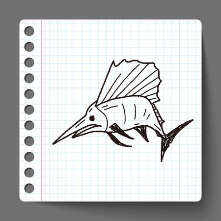 pez espada: Doodle de pez espada