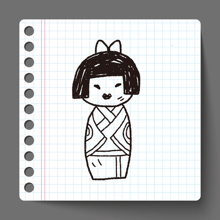 Japanese doll doodle Vector