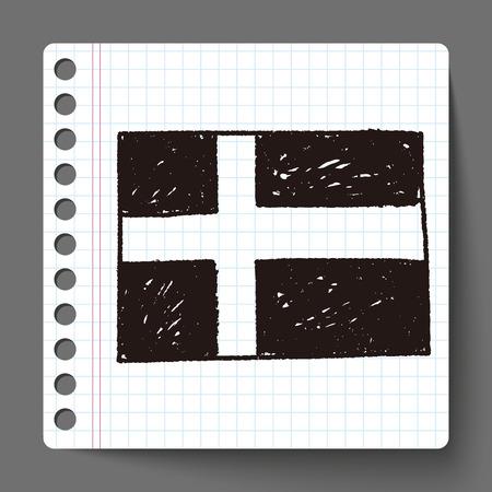 bandera suecia: suecia bandera del doodle