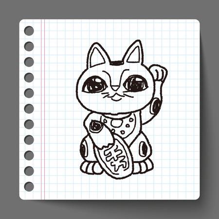 maneki neko: Lucky Cat doodle Illustration