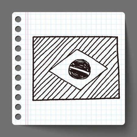 Brazil flag doodle Illustration