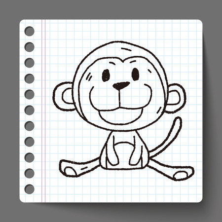 Chinese Zodiac monkey doodle drawing Vector