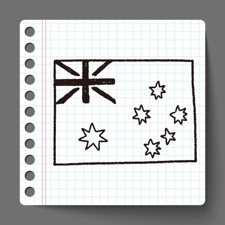 australia flag: australia flag doodle Illustration