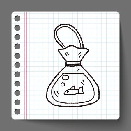 gold fish bowl: fish doodle Illustration