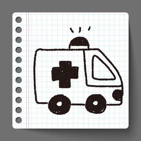 emergency ambulance: ambulance doodle drawing Illustration