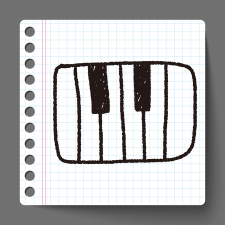 piano doodle drawing Vector