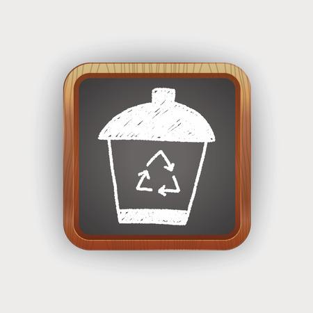 reciclar basura: basura de reciclaje puede doodle Vectores