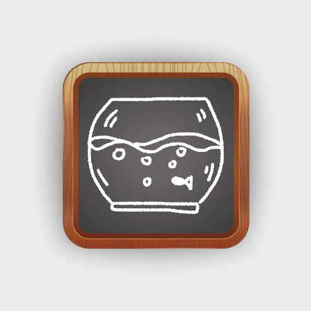 gold fish bowl: doodle pet fish Illustration