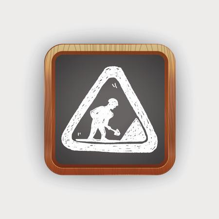 roadworks: construction road  doodle