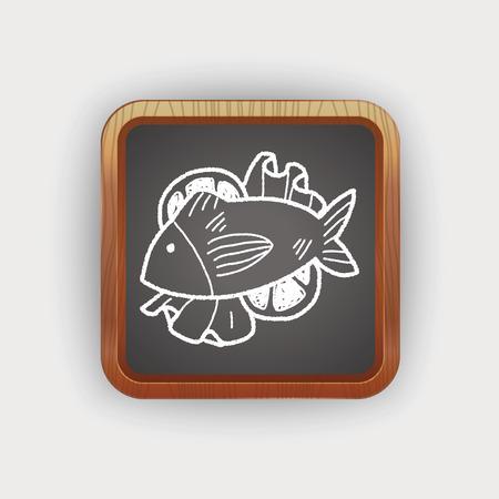 plato de pescado: alimento para peces del doodle