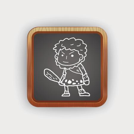 inventor: caveman doodle Illustration