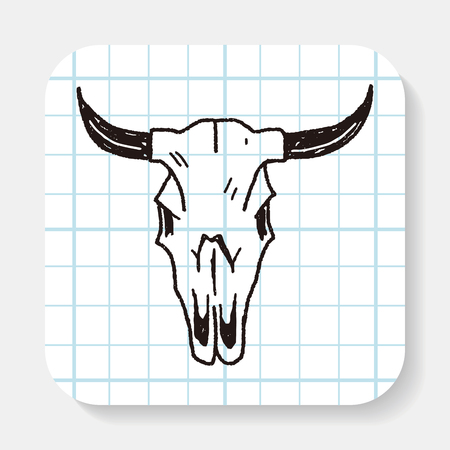 cow skull: cow skull doodle Illustration