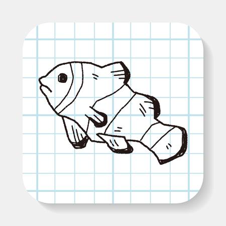 ocellaris clownfish: Clownfish doodle Illustration