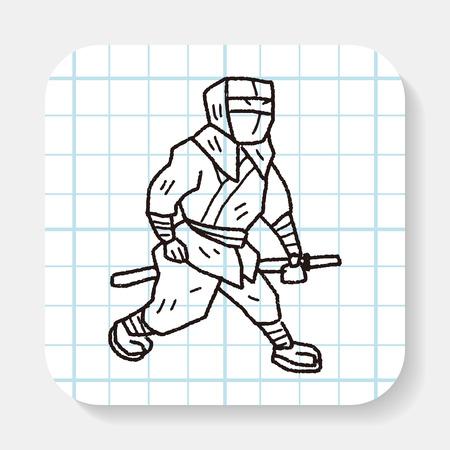 ninja: ninja doodle Illustration
