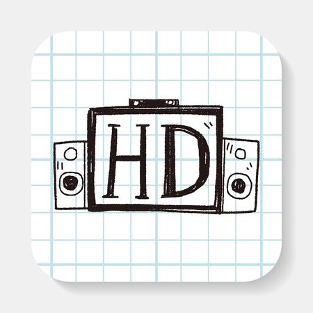 hd: HD TV doodle Illustration