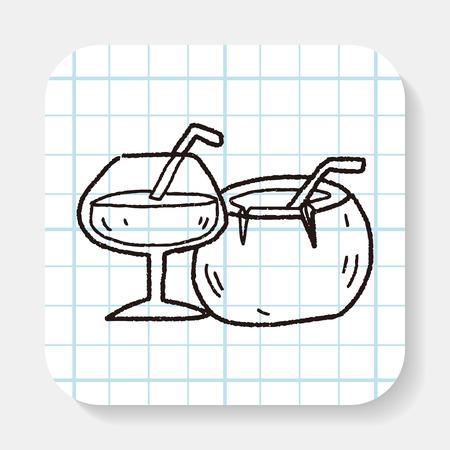 coconut drink: coconut drink doodle