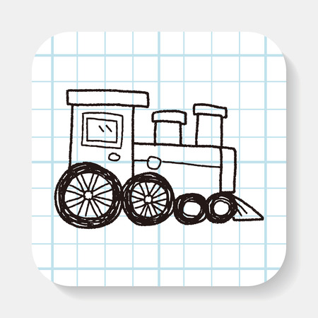 cargo train: train doodle Illustration