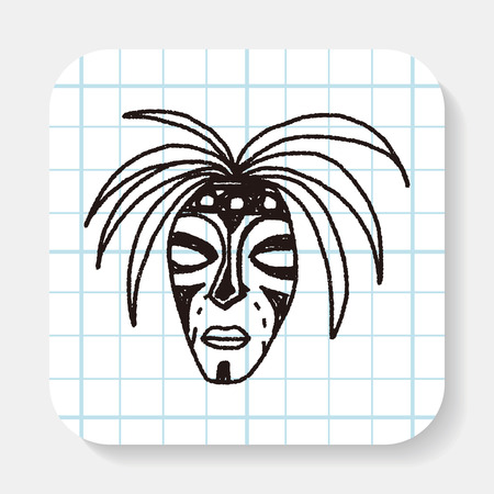 african mask: African mask doodle Illustration