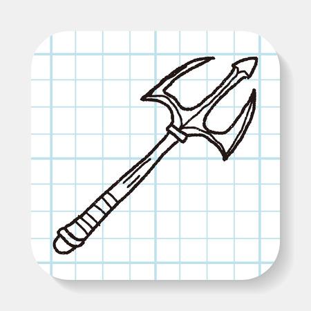 harpoon: spear doodle Illustration