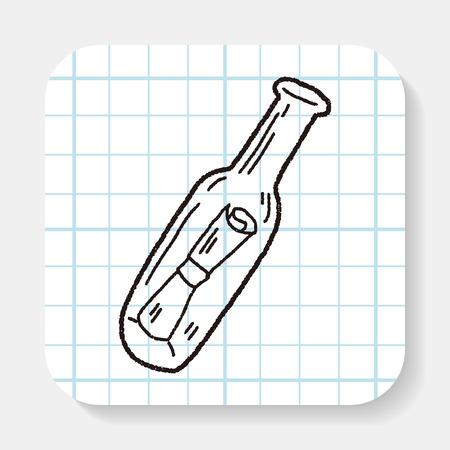 message in bottle: bottle message doodle
