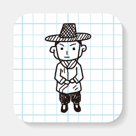 hanbok: Korea man doodle Illustration