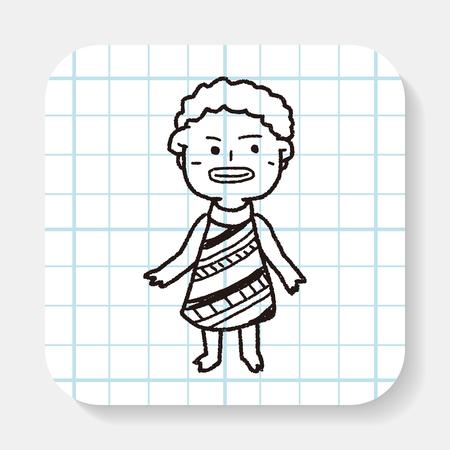 zulu: African people doodle