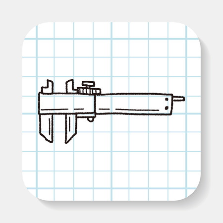 calliper: measuring tool doodle Illustration