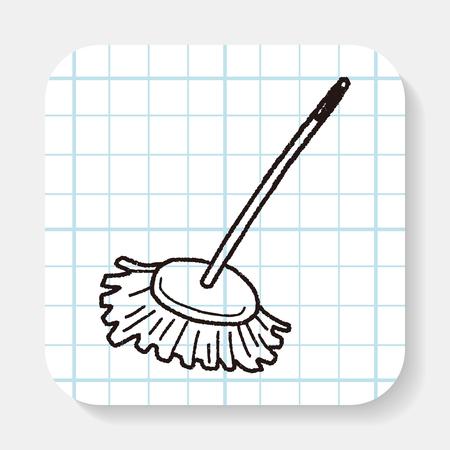dweilen: mop doodle Stock Illustratie