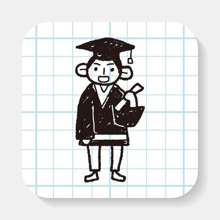 toga y birrete: doodle de estudiante Vectores