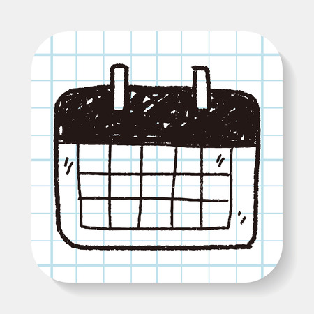 monthly calendar: Monthly calendar doodle drawing Illustration