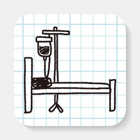 cama hospital: hospital bed doodle Vectores