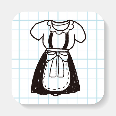 cleaning cloth: maid clothes doodle Illustration