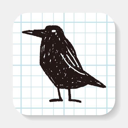 cuervo: cuervo doodle de Vectores