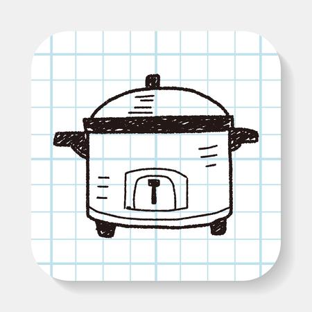 slow food: cooker doodle Vettoriali