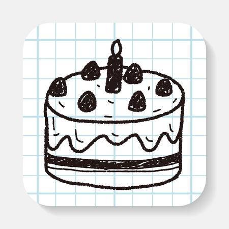 gateau anniversaire: gâteau de griffonnage Illustration