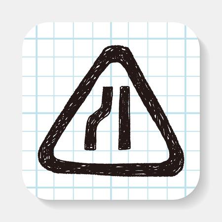 danger ahead: road narrow merge doodle
