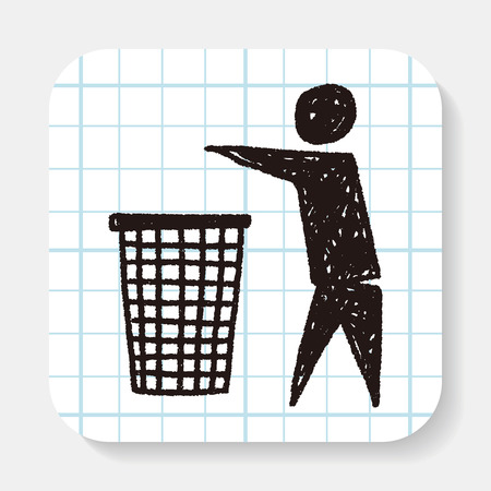 Throw trash doodle