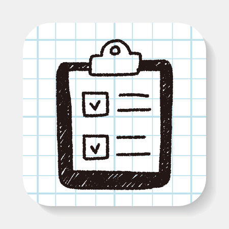 background check: paper checking list doodle drawing Illustration