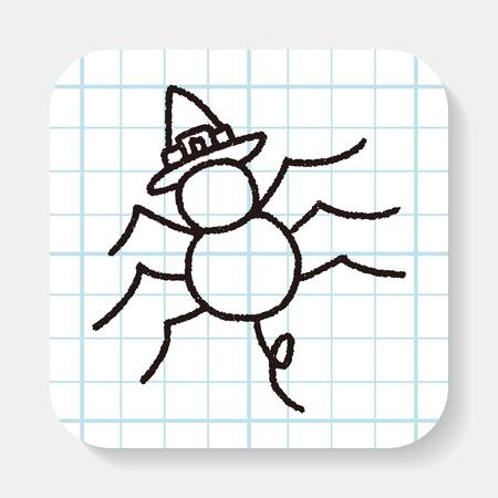 halloween spider: halloween spider doodle drawing