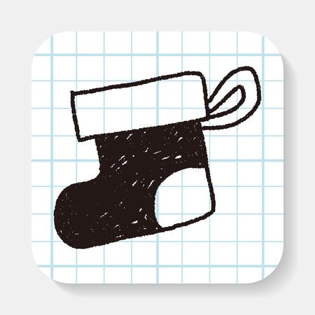 christmas socks: Christmas socks doodle drawing Illustration