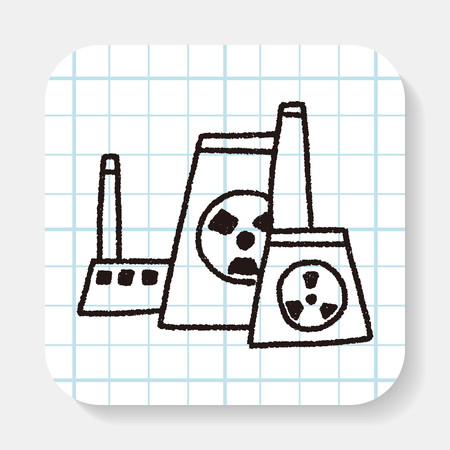pollute: Environmental protection concept; The factory do well on emission to not pollute the air and environment; doodle