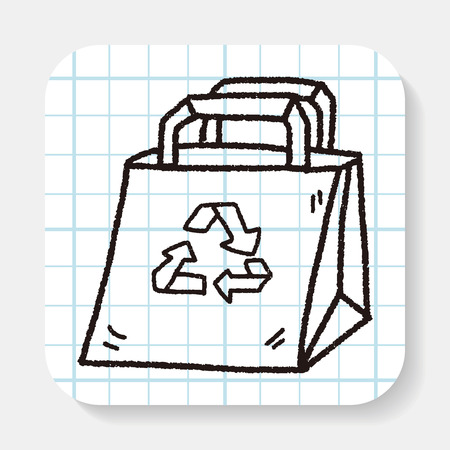 recycled: Environmental protection concept; Recycled shopping bag; doodle