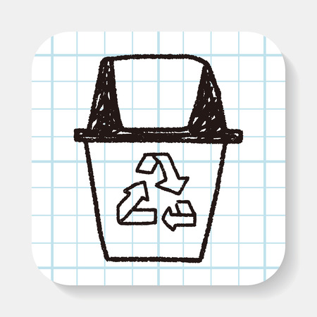 proteccion: Concepto de protección del medio ambiente; Haciendo reciclar para proteger nuestro medio ambiente; basura reciclada; garabato