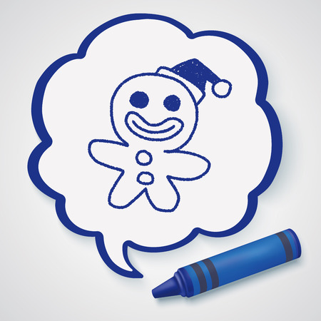 gingerbread man: The Gingerbread Man doodle drawing Illustration