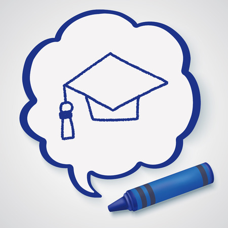 graduation hat: graduation hat doodle drawing Illustration